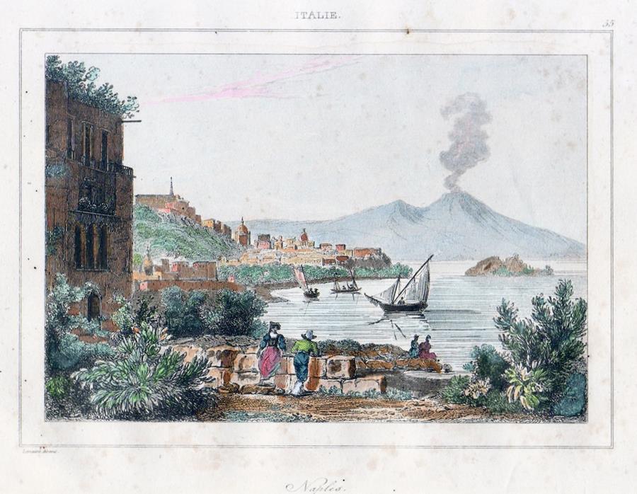 cartolina d'epoca napoli acquerellata