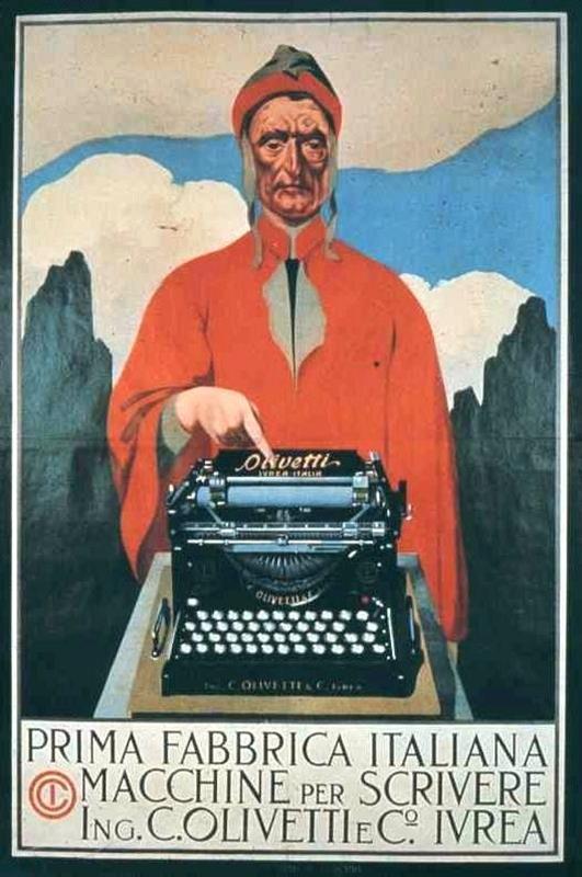 dante alighieri che batte su una macchina da scrivere olivetti