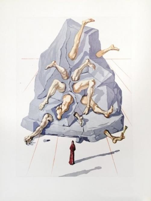 inferno di dalì roccia che escono gambe di esseri umani