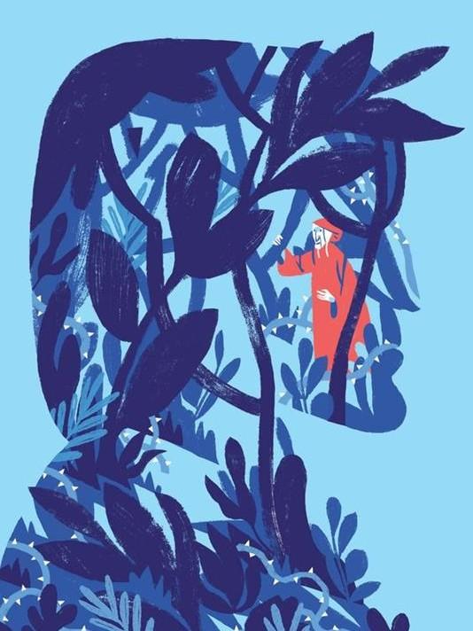 dante di Michele Bruttomesso per danteplus in celeste e blu