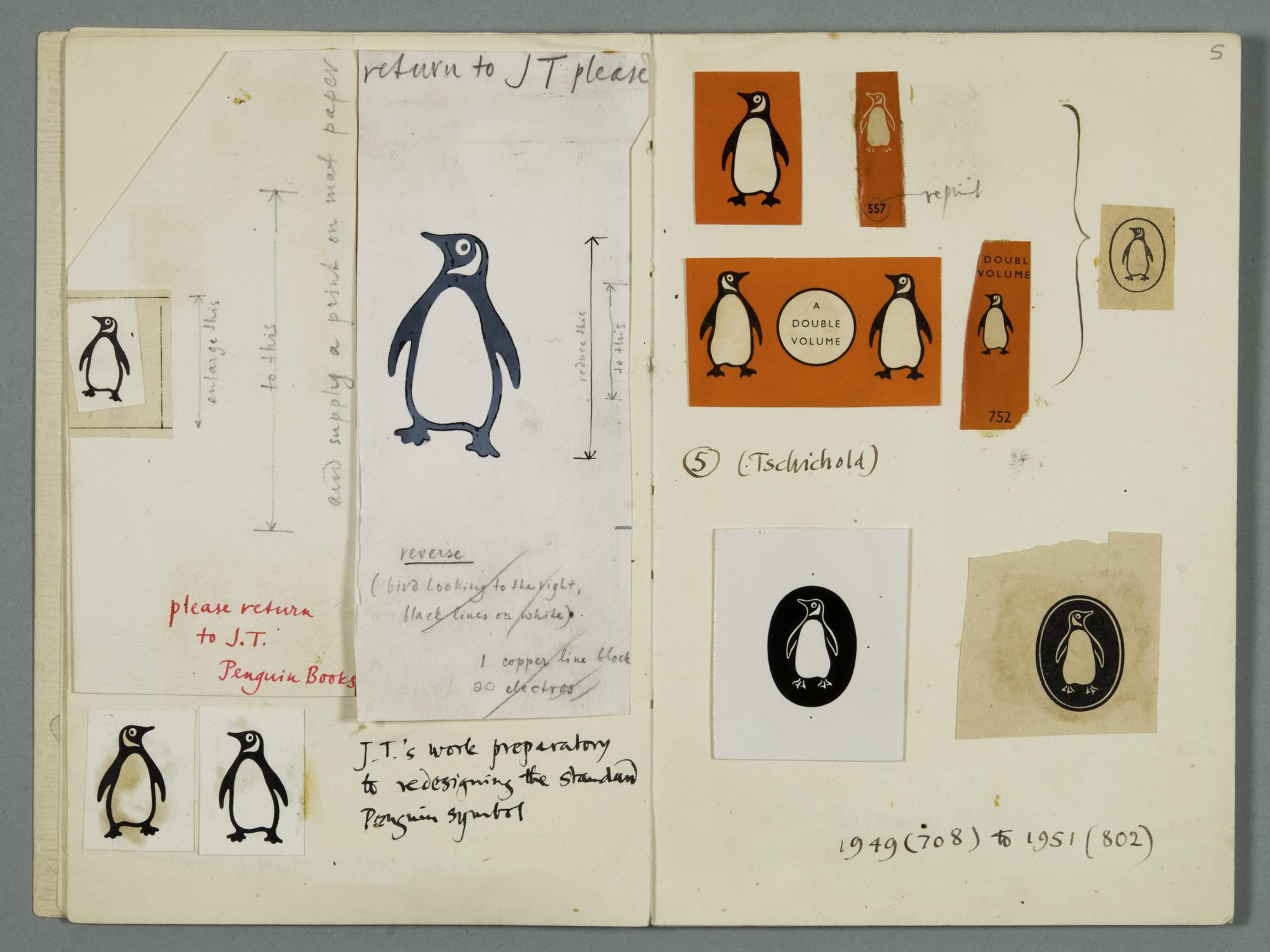 disegni e schizzi del logo penguin