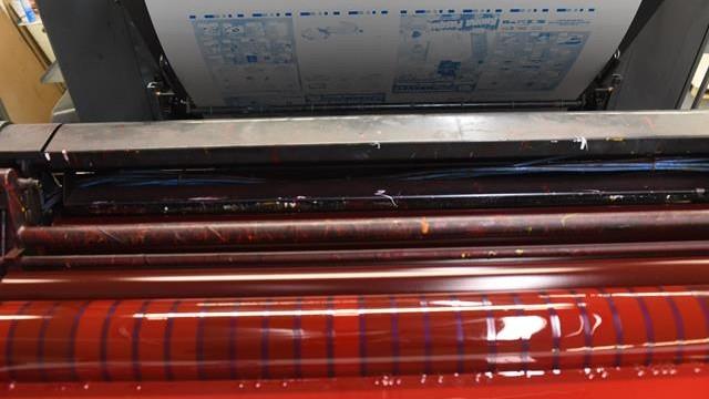 lastra litografica con inchiostro rosso