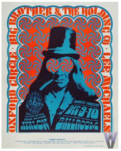 poster blu e arancio con uomo con cappello a bombetta e sigaretta in bocca