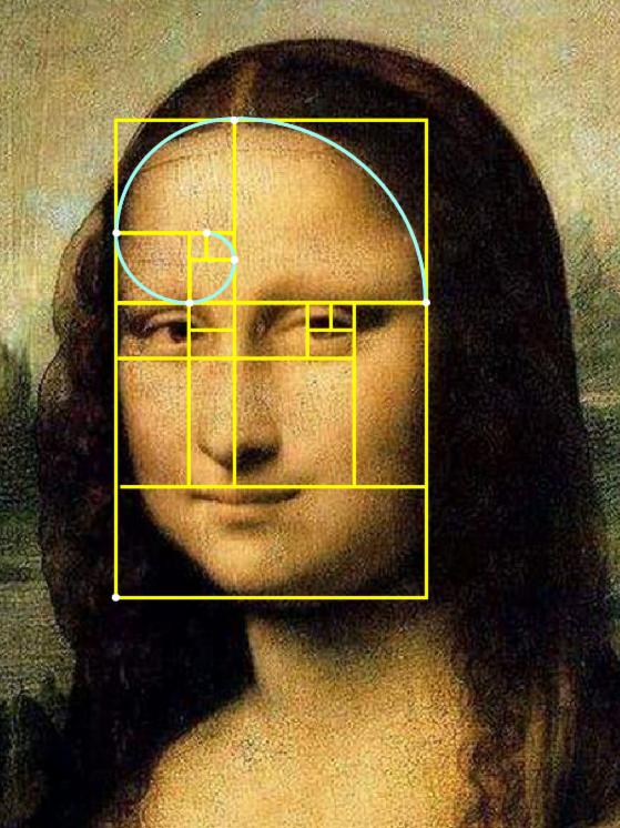 esempio di golden ratio sul volto della gioconda di leonardo