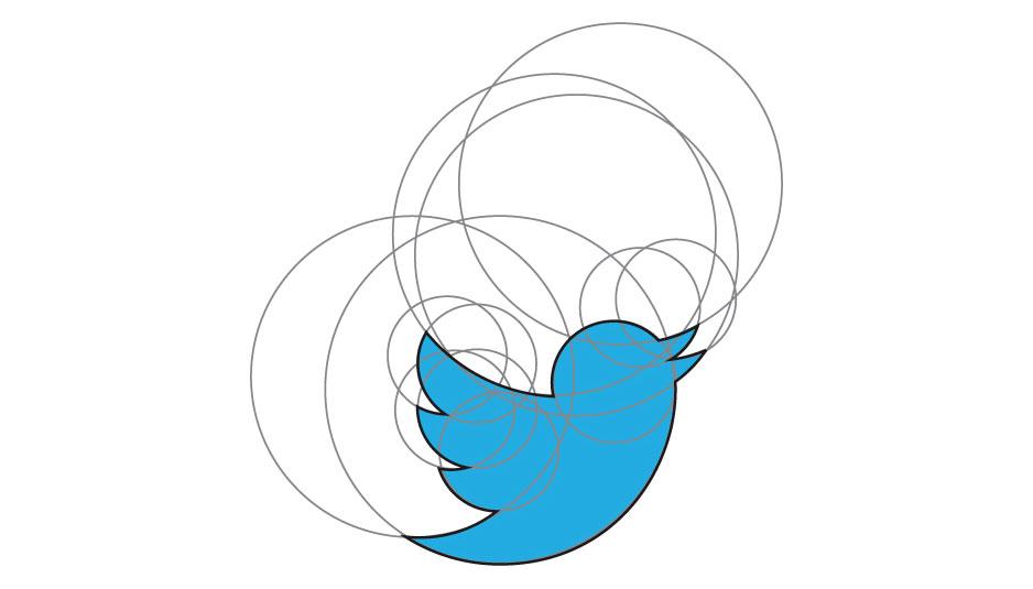 esempio di golden ratio applicato al logo dell'uccellino di twitter