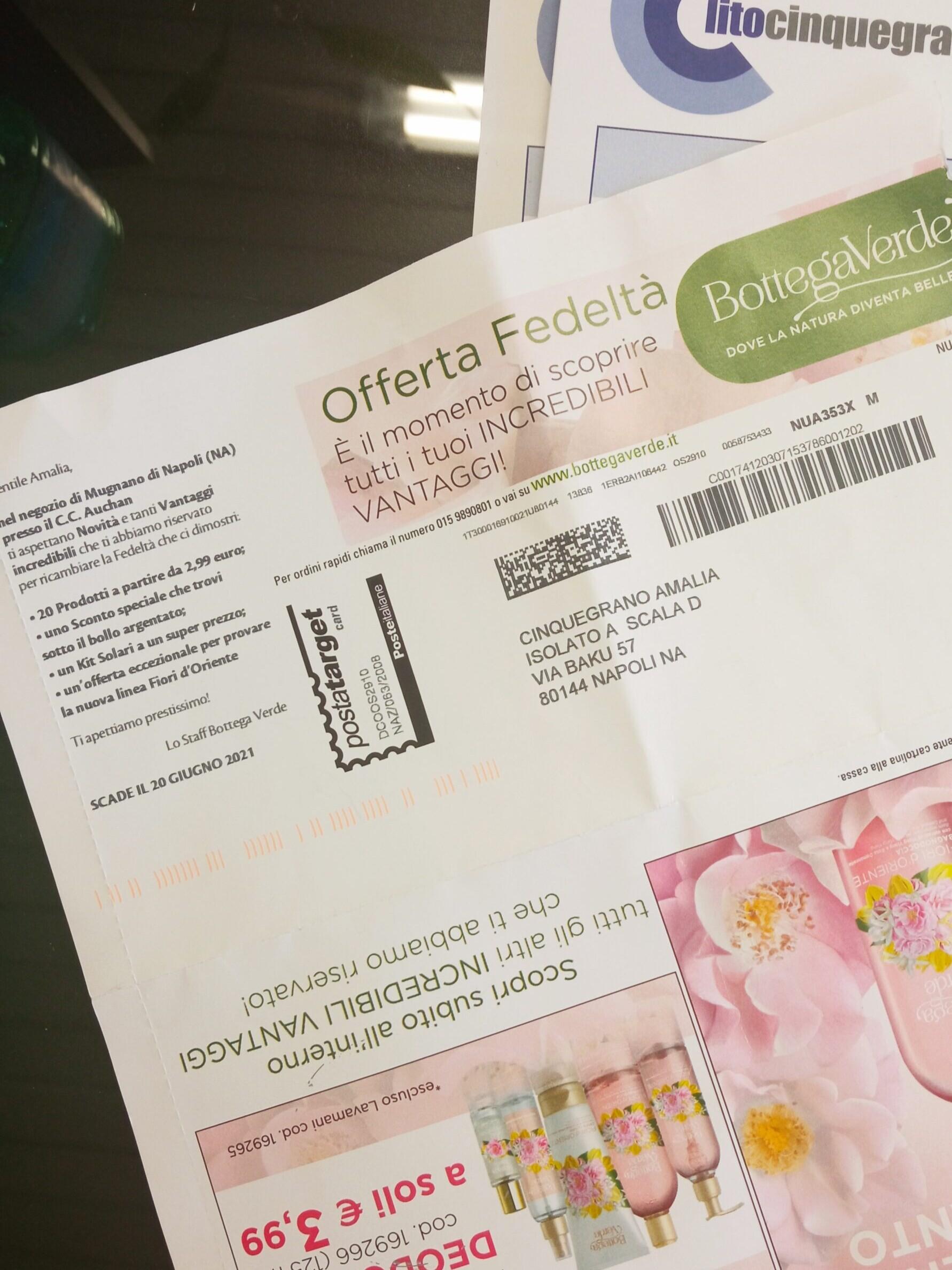 posta cartacea con promozioni di bottega verde