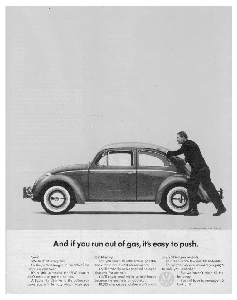 esempio di uso dello spazio vuoto nella pubblicità della volkswagen