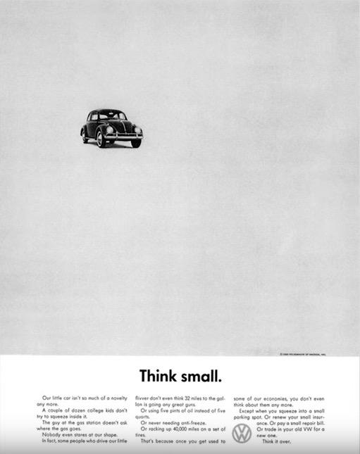 pubblicità volkswagen come esempio dell'uso dello spazio bianco